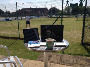 Makeshift press box at Felixstowe LTC
